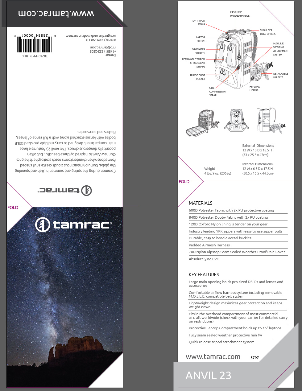 My image used on the new Tamrac Anvil 23 backpack