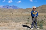 Boy on high Tibetan plain