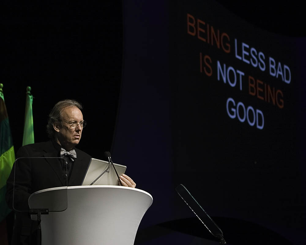 William McDonough delivering keynote speech to the American Institute of Architects