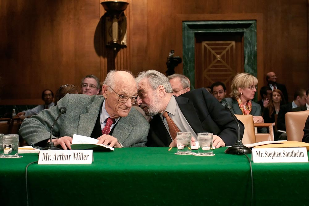 U.S. Senate Judiciary Committe hearing on playwrights and antitrust.  Arthur Miller testifies before Congress for the first time since the 1953-54 McCarthy hearings.
