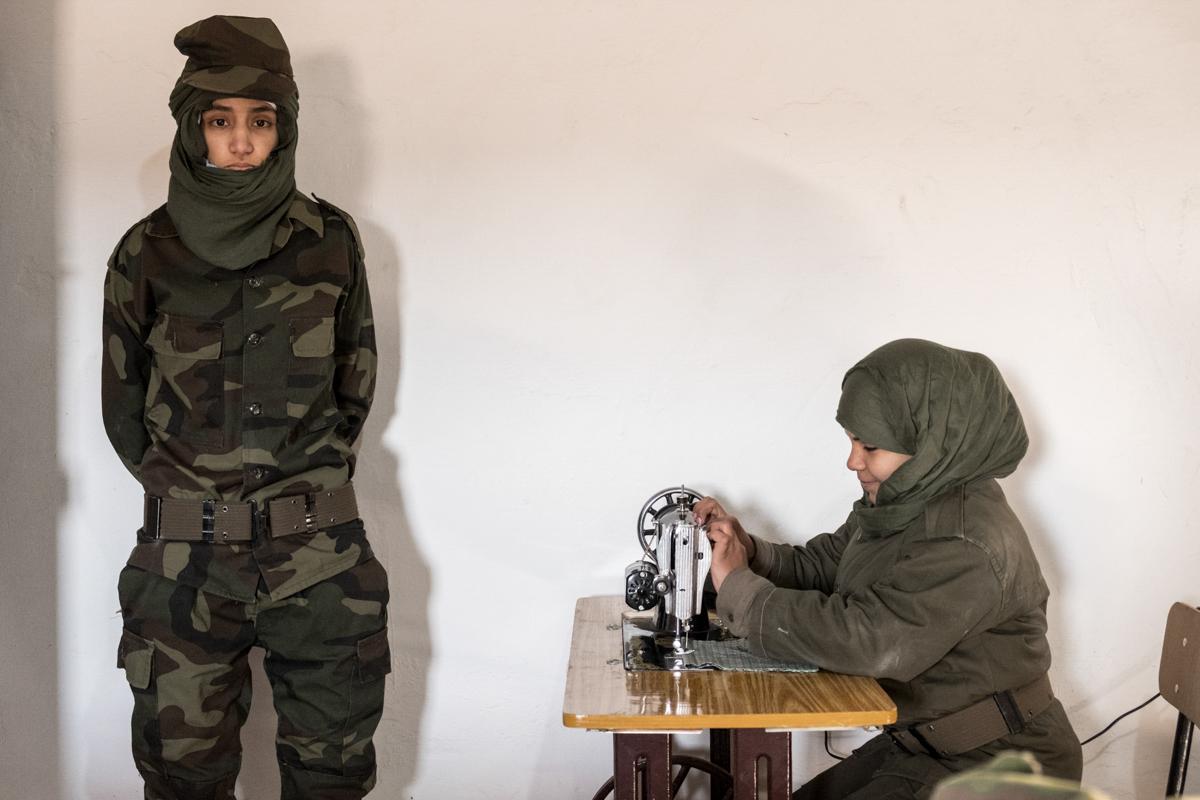 Tindouf's Saharawi refugee camps. Rabouni. Women school for military training