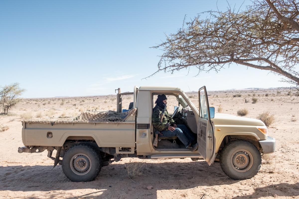 Tifariti. RASD, Saharawi administrated territories of Western Sahara. Members of the security of polisario.