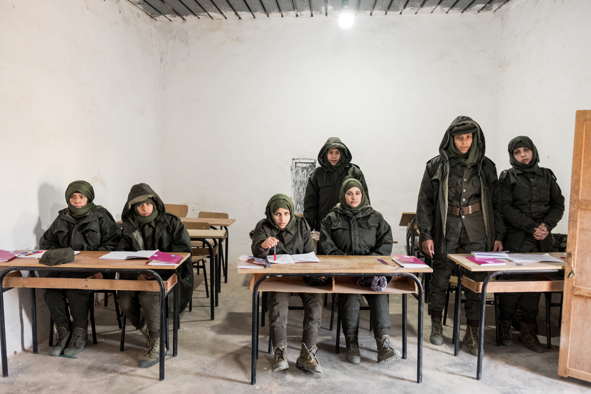 Tindouf's Saharawi refugee camps. Rabouni. Women school for military training