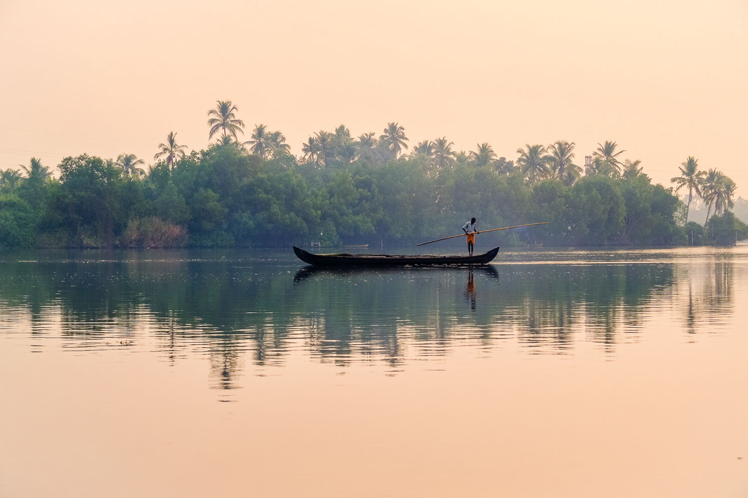 Sunrise in Kerala's backwaters. India. Fisherman on a traditional rowboat in front of the secluded shores of Kakkathuruthu (the Island of Crows), a small island on India's largest lagoon: Lake Vembanad.
