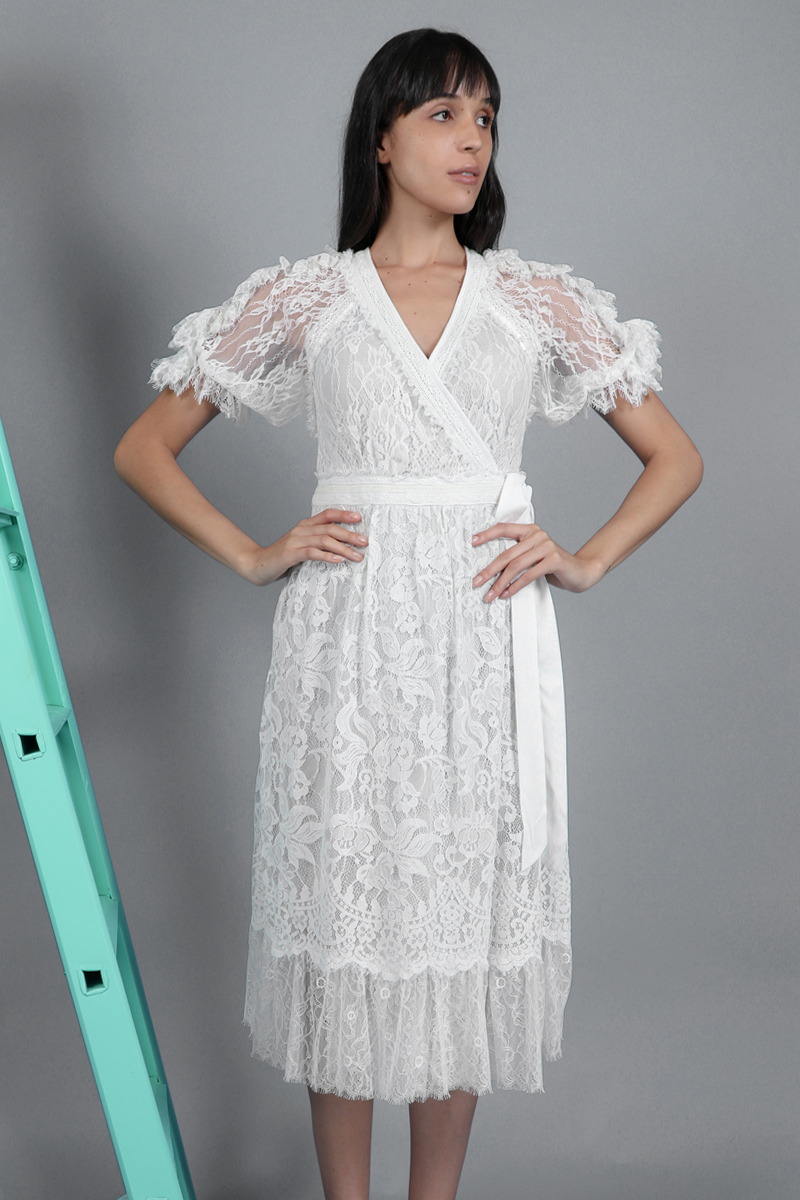 CA 400836 OLYMPIYA WRAP DRESS WHITE