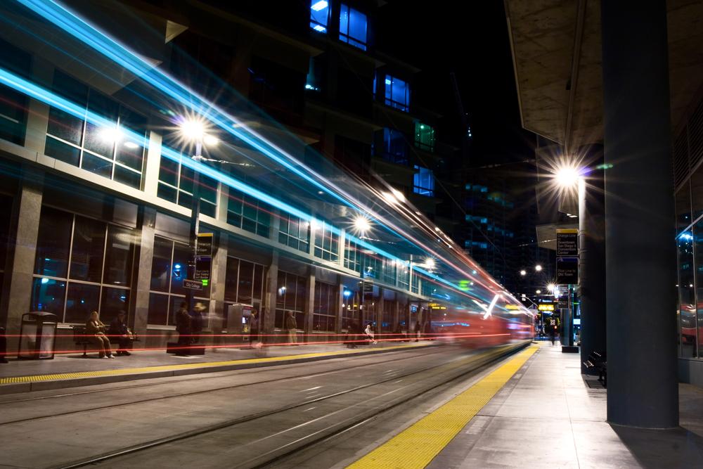 Trolley stop, San Diego, California