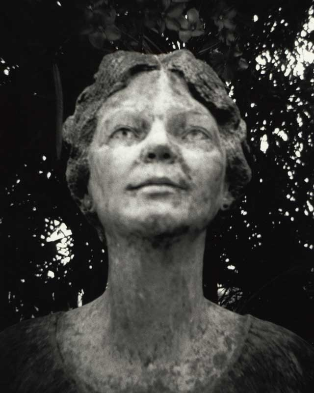 Early Settler No. 1. Portrait of female stone bust  ag_0000_2092.  BW Rights Managed Image Copyright © 2003 Ann Giordano All Rights Reserved.