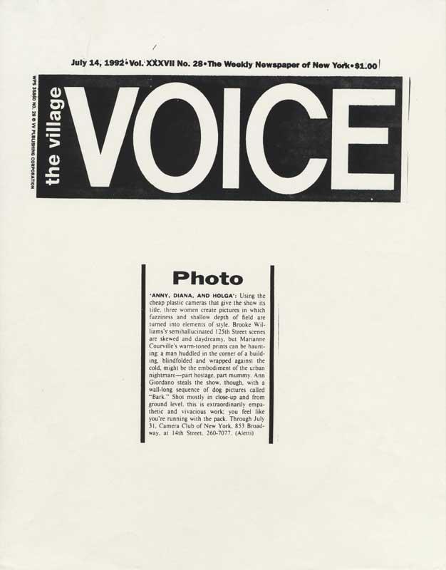 Ann Giordano, Photographs, BARK, Dogs, Village Voice Choice, ANNY, DIANA AND HOLGA, THE CAMERA CLUB OF NEW YORK, Courtesy Vince Aletti