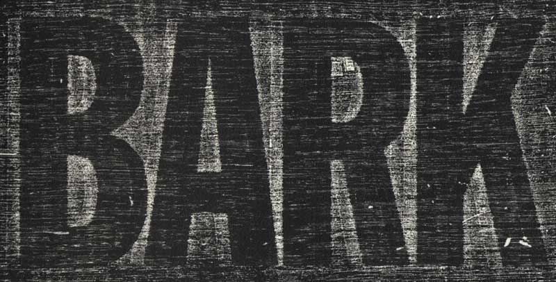 Bark Logo, letterpress title page of the artist book, BARK.  Copyright © 1986 - 2010 Ann Giordano All Rights Reserved