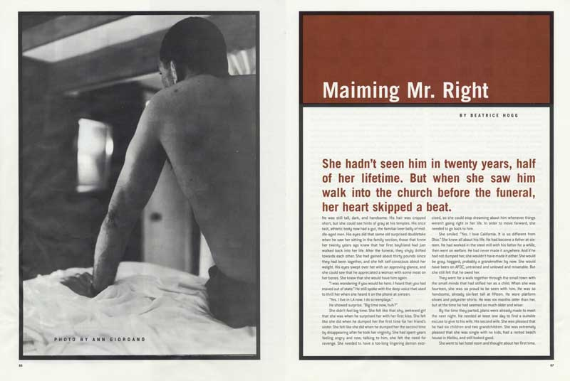 Maiming Mr. Right, Bust Magazine.  Man waiting on bed ag_0000_1830  BW Rights Managed Image Copyright © 2000 Ann Giordano  All Rights Reserved.  For reproduction rights and license fees, please contact licensing at anngiordano.com