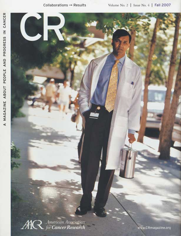 CR Magazine, American Association for Cancer Research. Yolanda Cuomo, Creative Director.   Back Cover photograph, Portrait of Sarat Chandarlapaty  ag_0000_2915  Color Image Copyright  © 2007 Ann Giordano All Rights Reserved.  For Viewing Purposes Only.  No Reproduction.