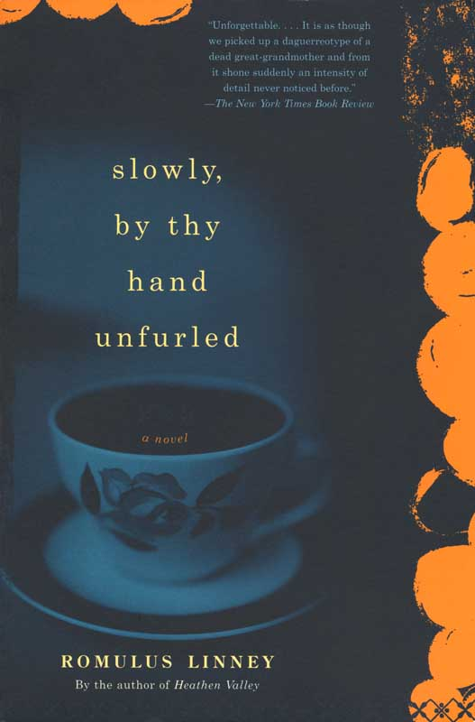 Slowly, by thy hand unfurled, novel by Romulus Linney.  Shoemaker & Hoard, publisher.  Book jacket photograph,  Coffee cup with rose.  ag_0000_1360  Color Rights Managed Image Copyright © 2000 Ann Giordano All Rights Reserved.  For reproduction rights and license fees, please contact licensing at anngiordano.com