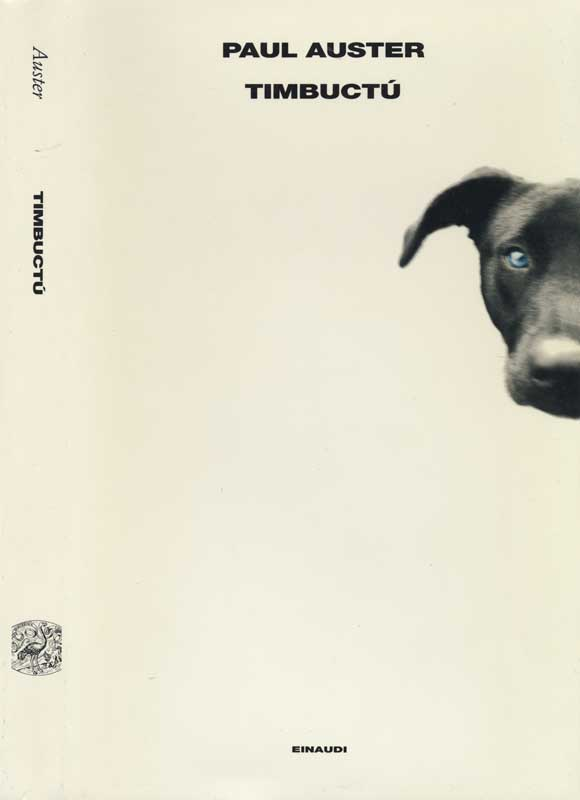 Timbuktu, novel by Paul Auster.  Italian Edition, Einaudi publisher.  Book jacket photograph, Close up of Black Labrador.  ag_0000_2072  BW Rights Managed Image Copyright © 1999 Ann Giordano All Rights Reserved.  For reproduction rights and license fees, please contact licensing at anngiordano.com