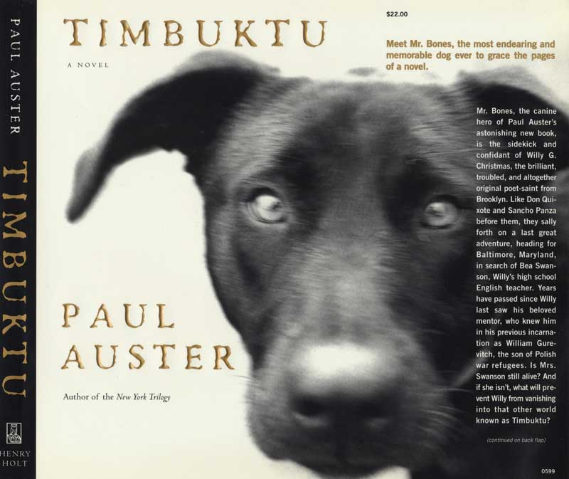 Timbuktu, novel by Paul Auster.  First Edition, North America, Henry Holt & Company, publisher.  Raquel Jaramillo, designer. Book jacket photograph, Close up of Black Labrador.  ag_0000_2072  BW Rights Managed Image Copyright © 1999 Ann Giordano All Rights Reserved.  For reproduction rights and license fees, please contact licensing at anngiordano.com