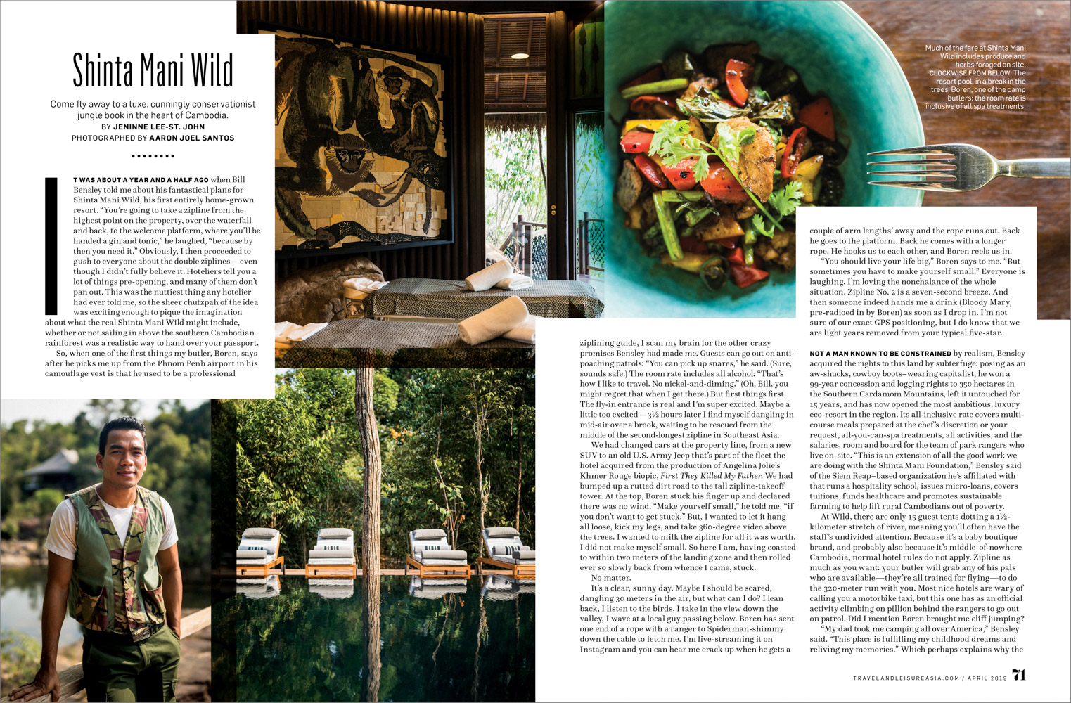 A feature on the Shinta Mani Wild resort in Cambodia.