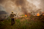 In Yen Bai Province in northern Vietnam, a young man in a pith helmet watches a field burn.
