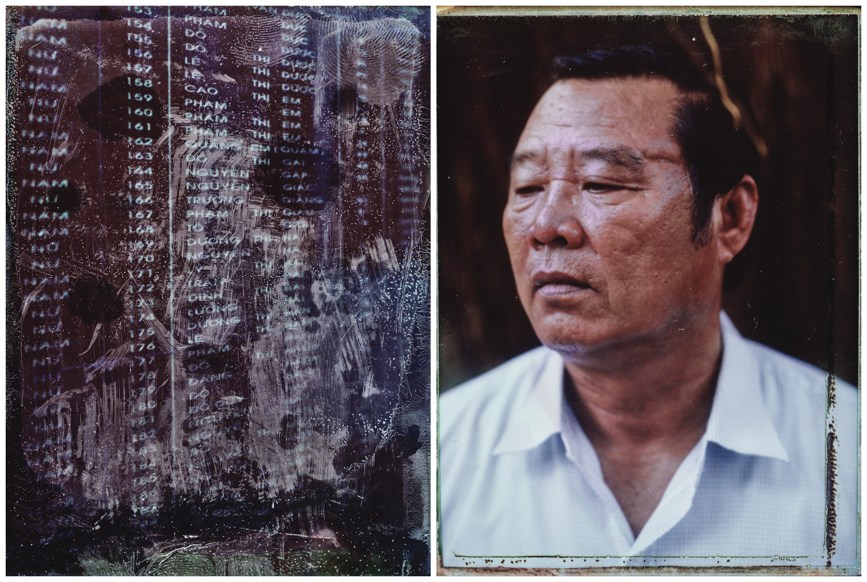 The names of 504 victims of the My Lai Massacre carved in marble at the museum in Quang Ngai, Vietnam. And a portrait of Pham Thanh Cong, the museum's director and a survivor of the massacre.