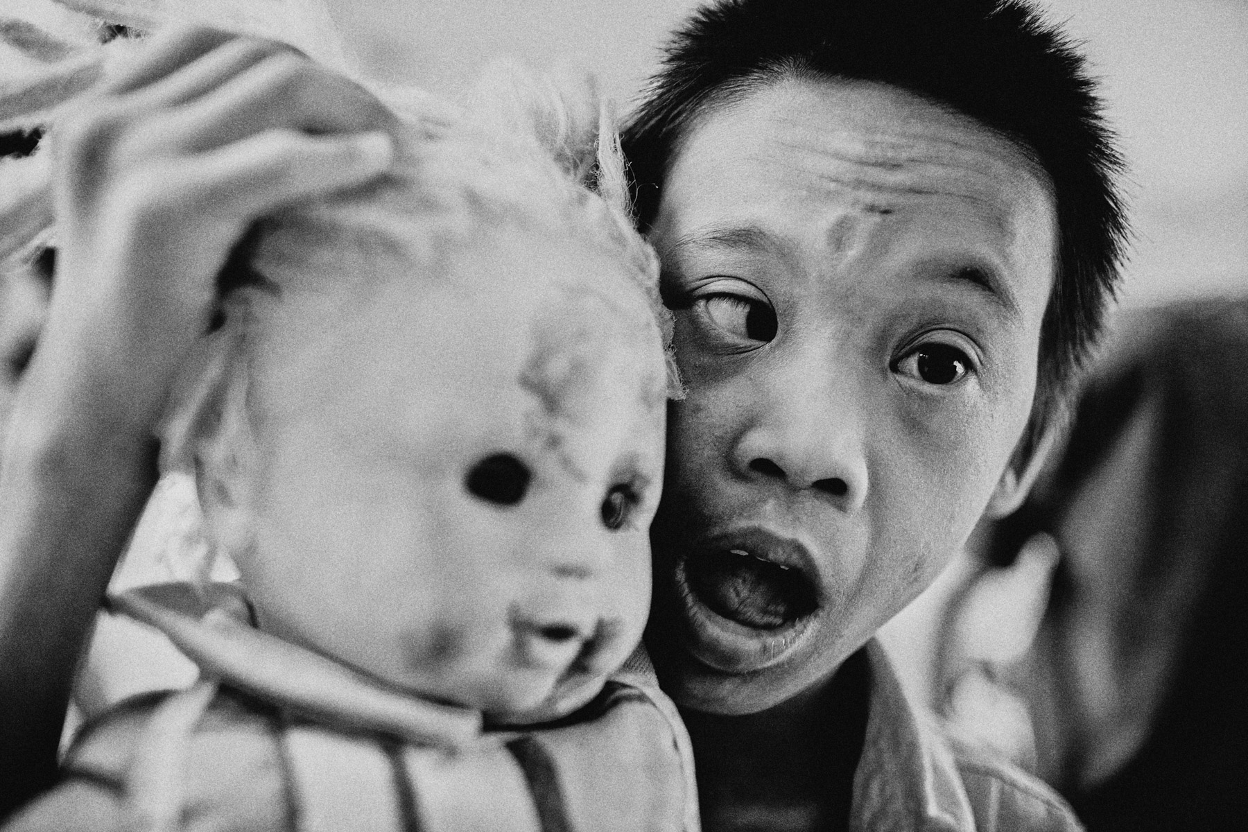 A young child suffering from the lasting effects of the Agent Orange defoliant used to decimate jungles and fields during the American-Vietnam War, in the Friendship Village on the outskirts of Hanoi.
