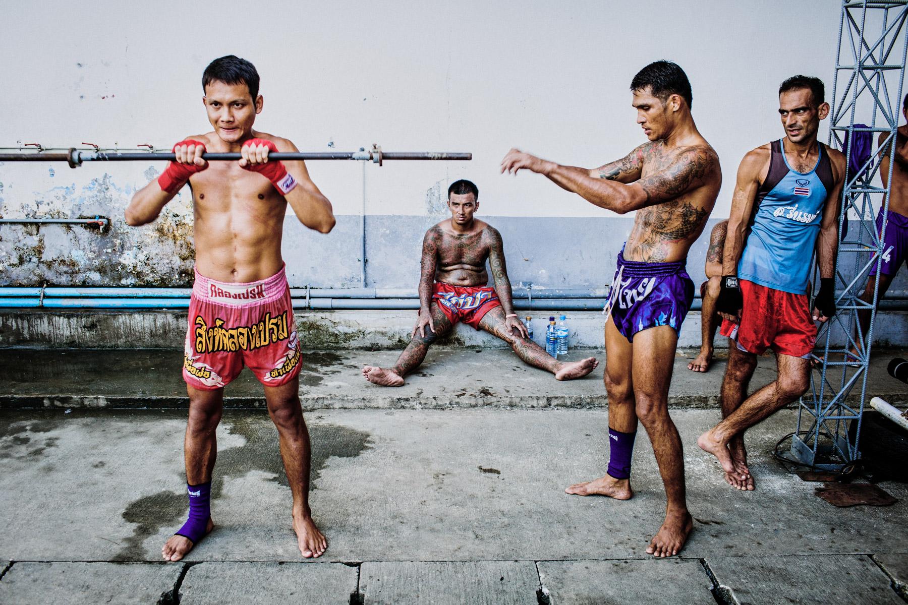 Inmates train in the Klong Prem prison courtyard in Bangkok, Thailand.