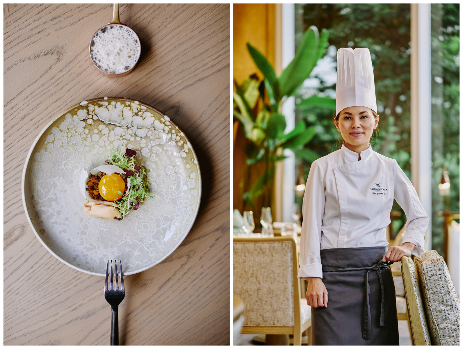 A portrait of chef Rungthiwa {quote}Fay{quote} Chummongkhon and her dish with mussels and egg yolk at The Front Room in Bangkok, Thailand.