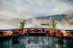 Outdoor seating at the Hotel de la Coupole in Sapa, Vietnam.