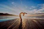 Sunrise yoga in Danang, Vietnam.