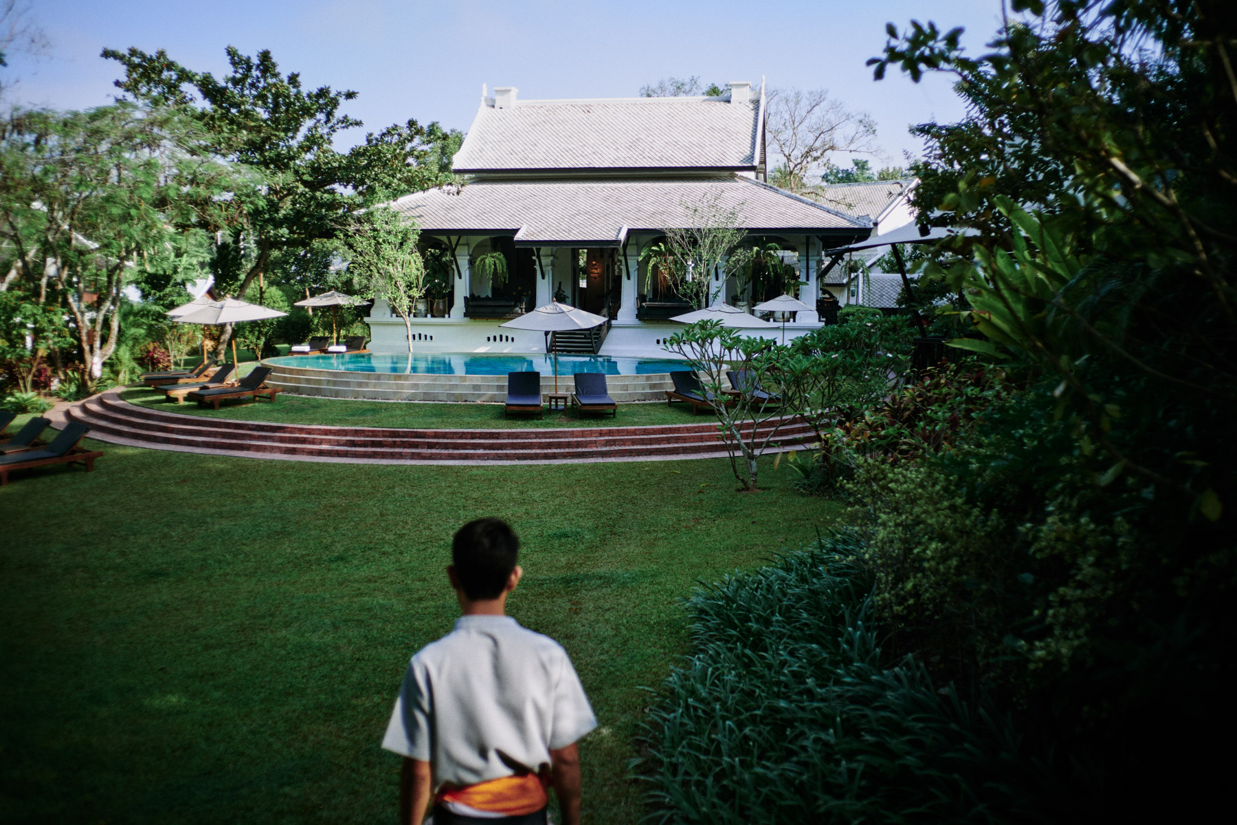 The grounds of the Rosewood Hotel in Luang Prabang, Laos.