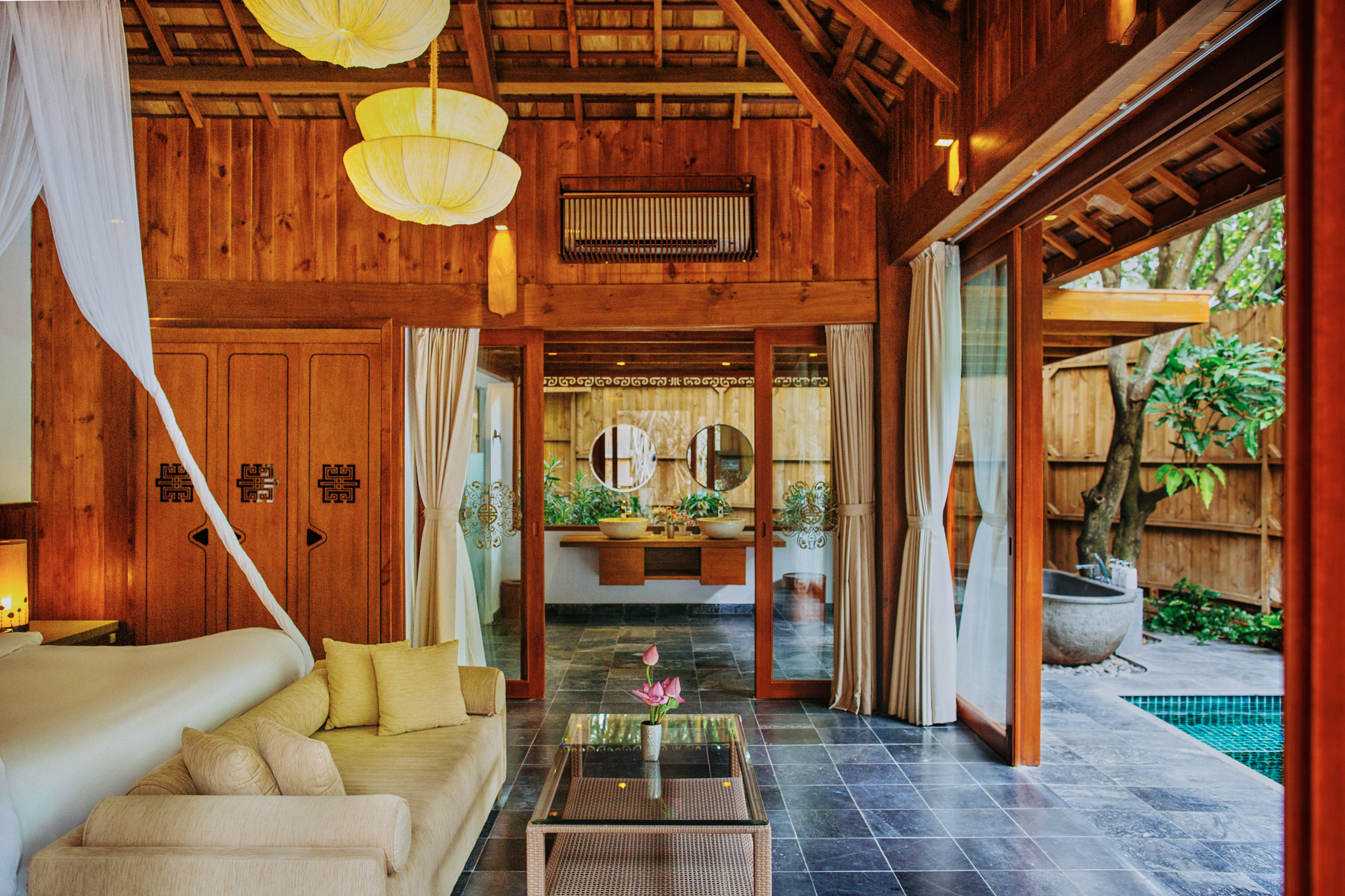 An open air suite at the An Lam riverside resort in southern Vietnam.
