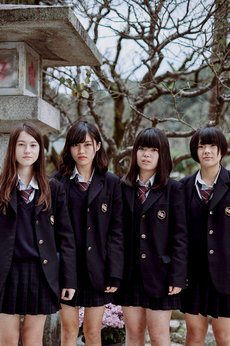A portrait of apparently rebellious Japanese schoolgirls in Kyushu, Japan.