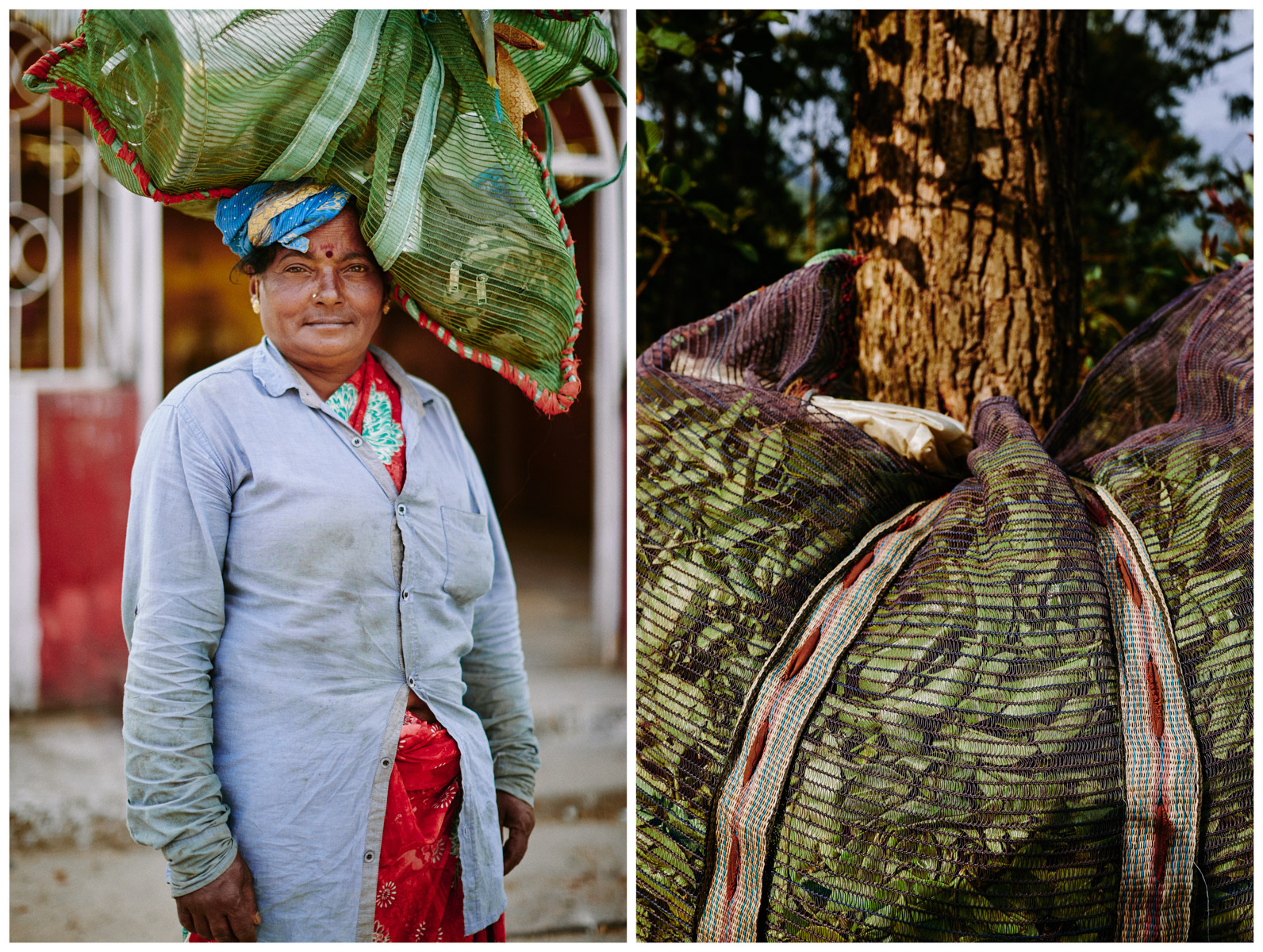 A woman carrying cooking supplies and a mesh bag filled with leaves on a tea plantation in the hills of Sri Lanka.