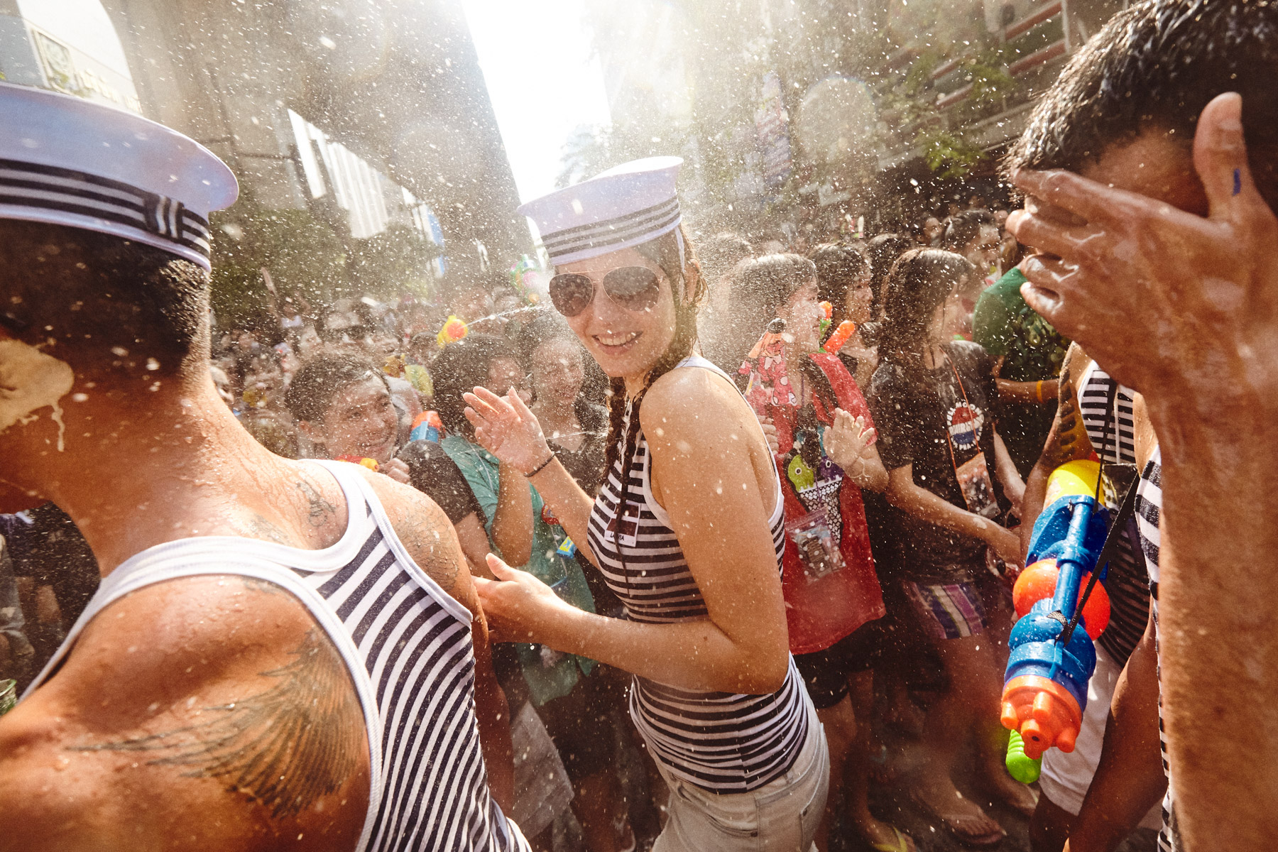 The nationwide water fight that is Songkran in Bangkok, Thailand.