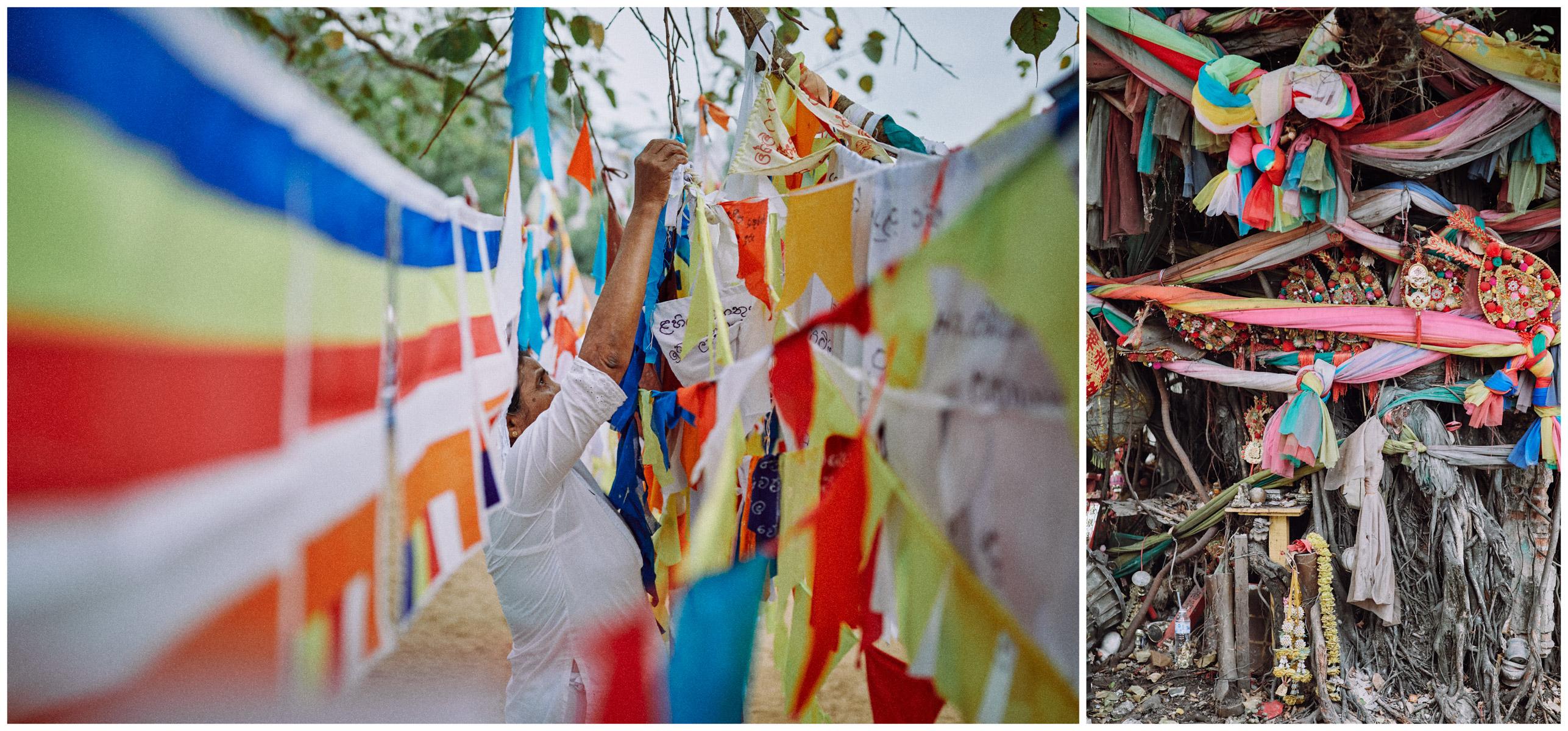 Various prayer flags in Kandy, Sri Lanka and in Bangkok, Thailand.