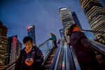 Dusk and escalators in Shanghai.
