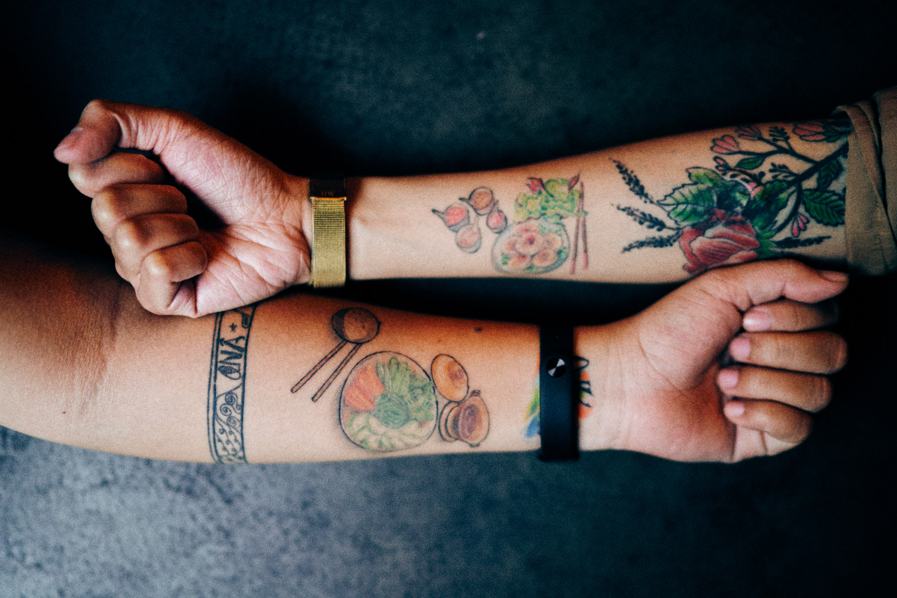 Two girlfriends with matching tattoos of their favorite Vietnamese food.