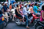 Typical traffic in Hanoi, Vietnam.