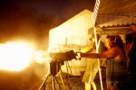 Story Rush, a kindergarten teacher from Greenwood, AK, fires an M1919 Browning .30 caliber machine gun on the first night of OFASTS.  {quote}It is such an adrenaline rush,{quote} she explained with after stepping back from the weapon. She had traveled to OFASTS for the first time with her husband and eight-year-old son. {quote}I grew up hunting with my Dad so guns are nothing unusual for me,{quote} she said.