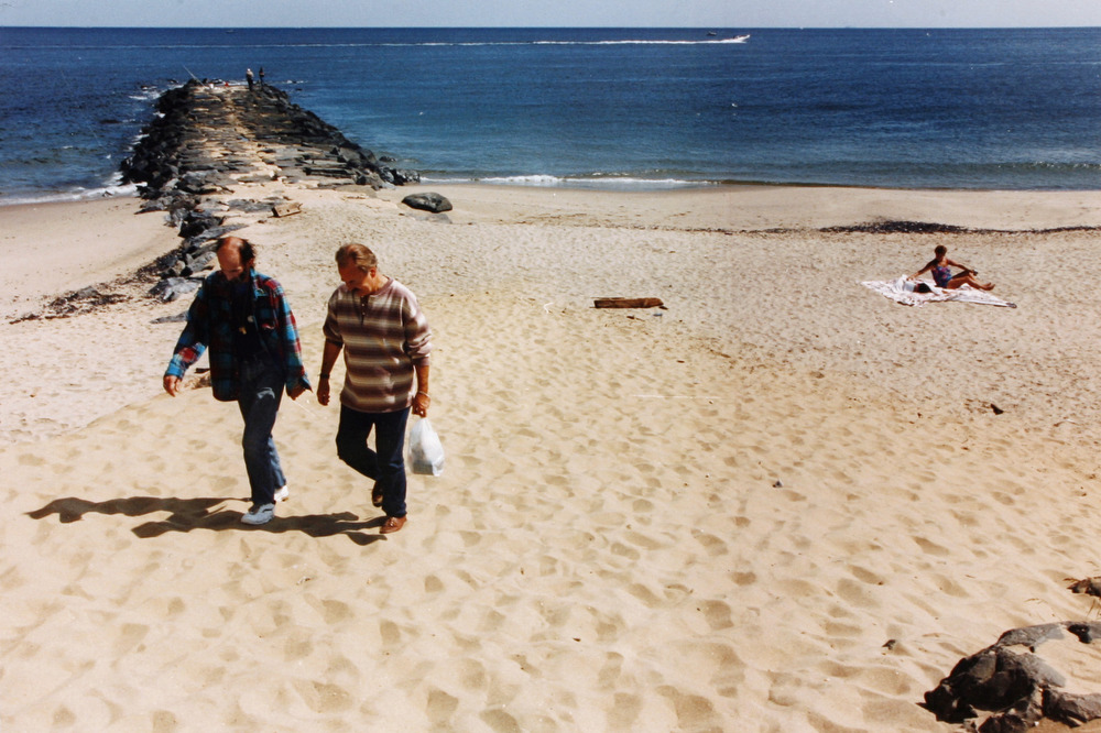 It was two years after being diagnosed HIV that Peter returned to the beach bar party area with AIDS buddy volunteer Arnold. The volunteer program  was created to help develop a friendship with those who are HIV/AIDS.