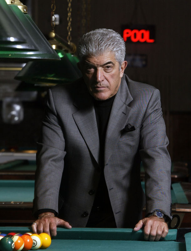 Frank Vincent of the Soprano's during a photo shoot at Guys and Dols Pool Hall.