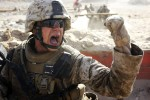 Lance Corporal Josh Pendlebury of Union, NJ exhorts his squad to move up to the front line during live fire training.