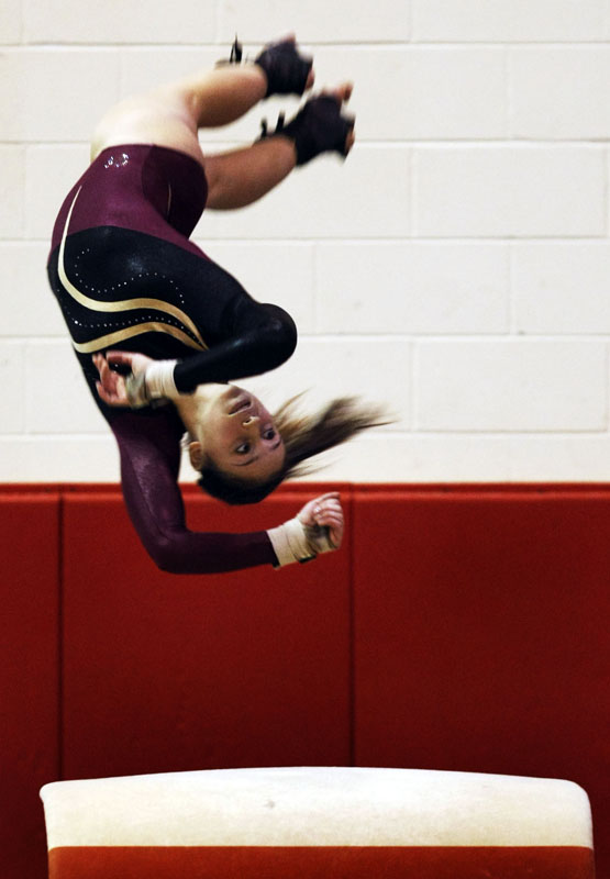 Alyssa Russo of Hillsborough on the vault during the NJSIAA Central Jersey, section 2, gymnastics section final in Hillsborough.