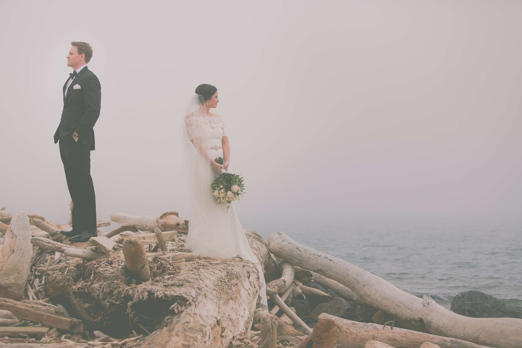 Wedding couple standing on top driftwood on beach while viewing Lake Erie amid heavy fog at Erie Basin Marina in Buffalo, NY