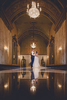 couple dances in lobby of sheas seneca theater during their buffalo, NY themed wedding