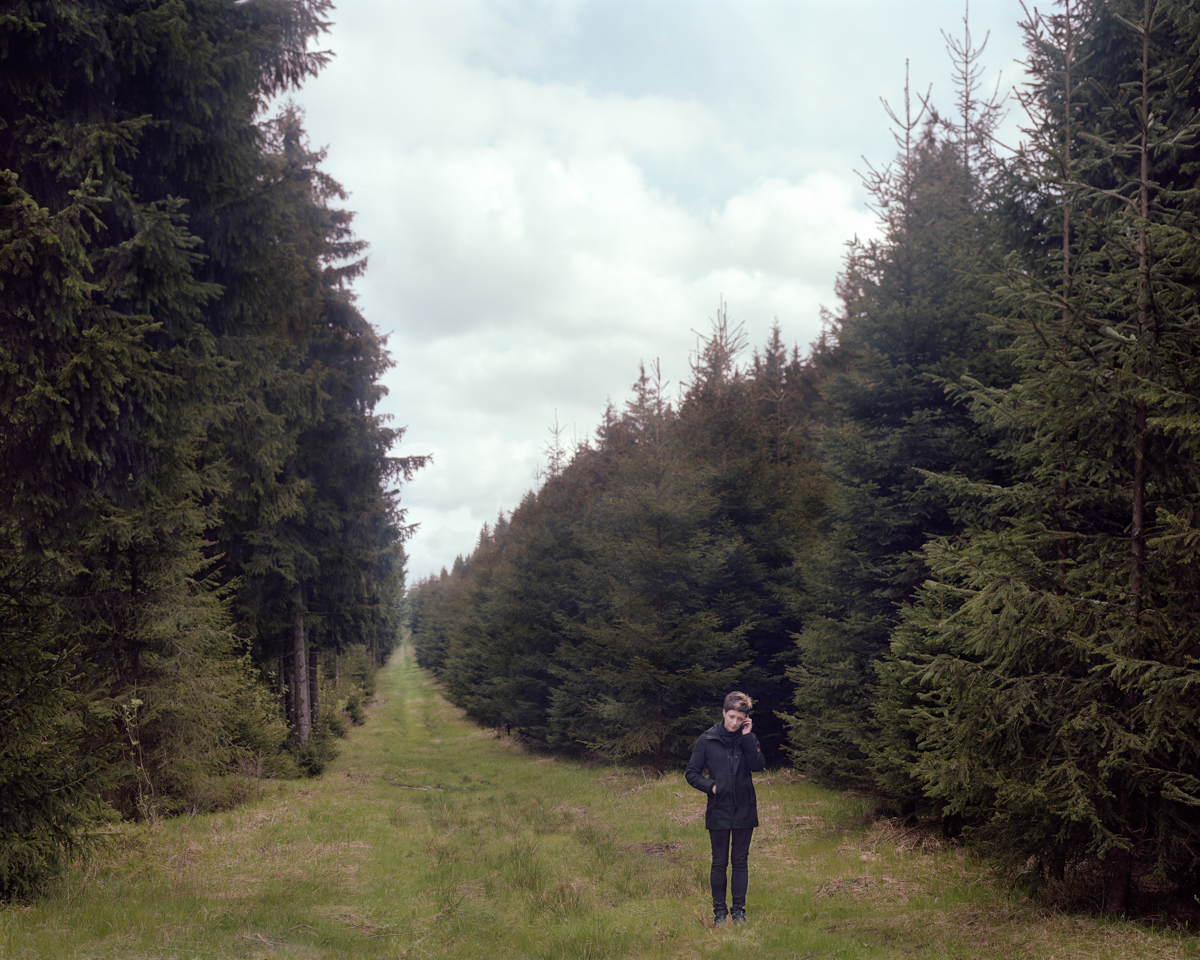 Jacqueline on cell, Thuringian Forest, Germany 2010
