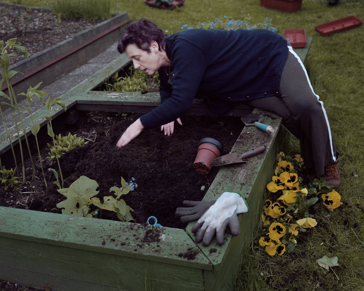 Moni gardening, Thuringian Forest, Germany 2012