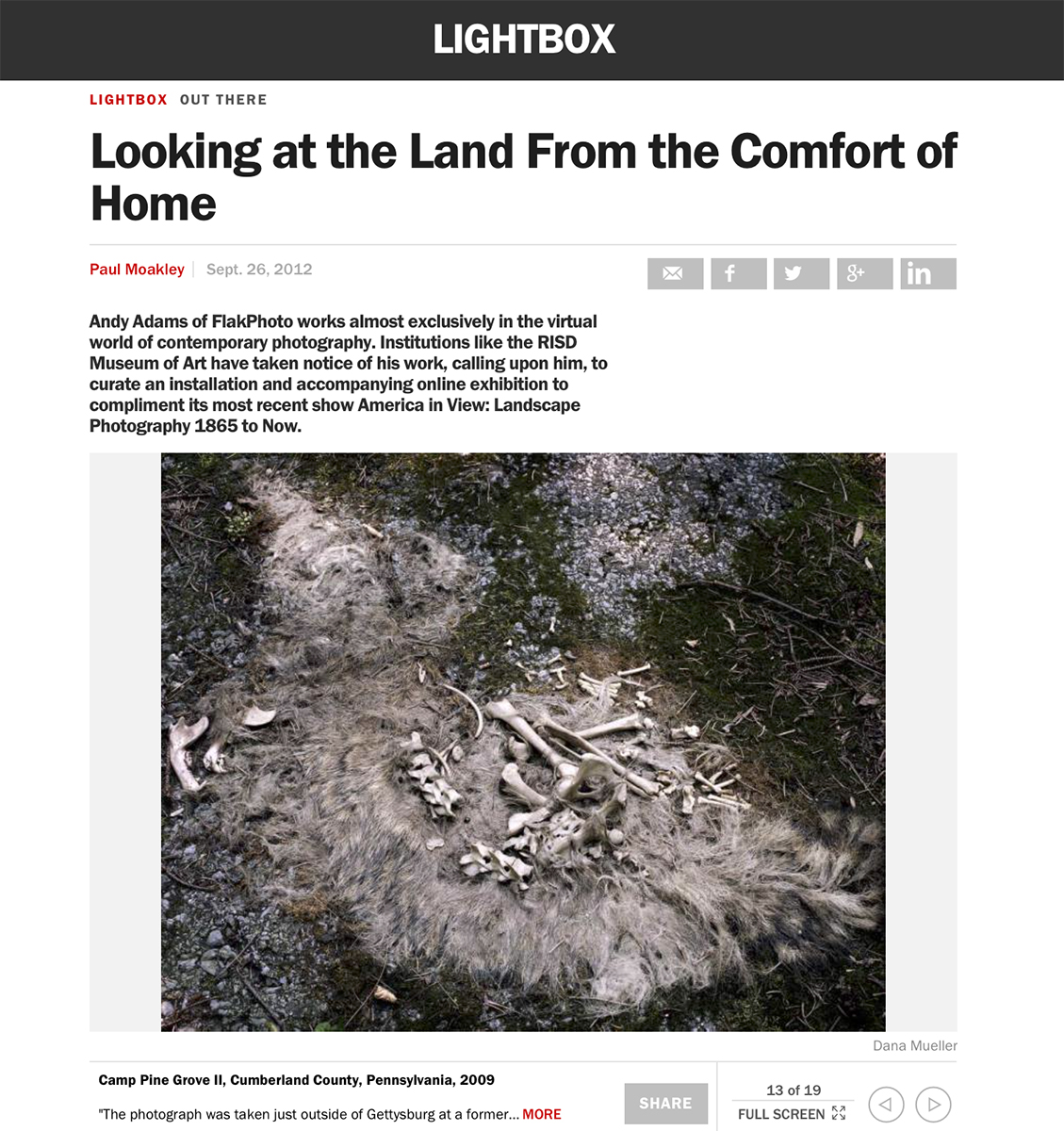--Looking at the Land From the Comfort of HomeBy Paul MoakleyInterview with Andy Adams of FlakPhoto