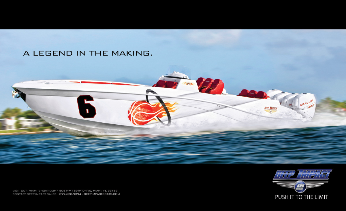 Deep Impact Yatchs ad for national publications, celebrating Lebron James coming to the Miami Heat.