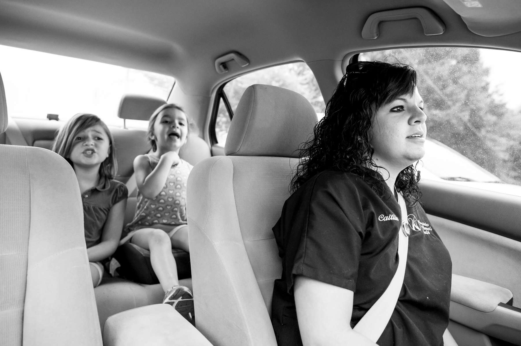 Caitlin Bell, along with daughters Zoey and Kessler McCarver on their way to the Chambliss Center for Children in Chattanooga, TN on August 21, 2013.