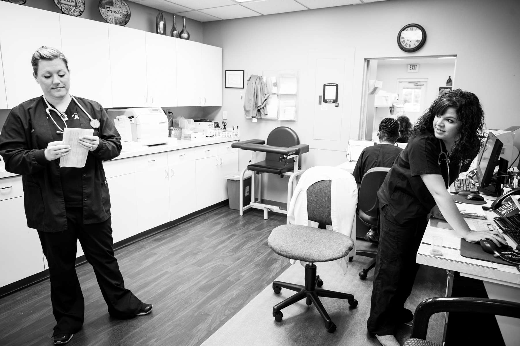 Caitlin Bell at work as a medical assistant in an OB/GYN office in Chattanooga, TN.