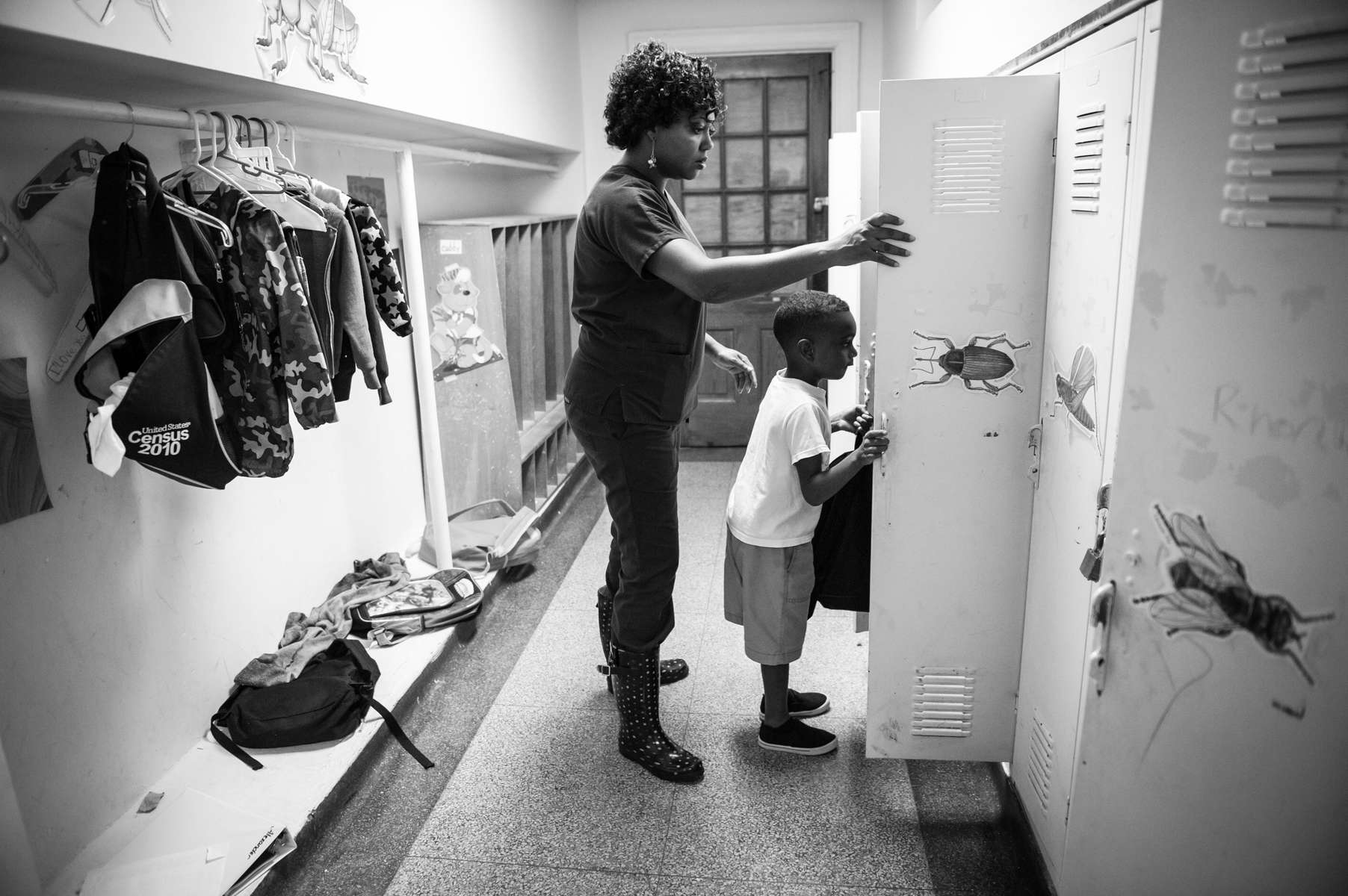 Nikki Brown picks up her son Kingston Brown, 5-years-old, at the Chambliss Center for Children in Chattanooga, TN on August 21, 2013.