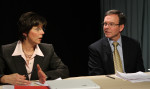 APRIL 6, 2011  School Committee Chairwoman Rebecca Robak, left, answers a question during the State of the Schools. Giving residents the opportunity to submit questions or call in during the production, the program was broadcast live from the studios of HCAM TV in Hopkinton, MA. At right is Superintendent John E. Phelan, Jr.